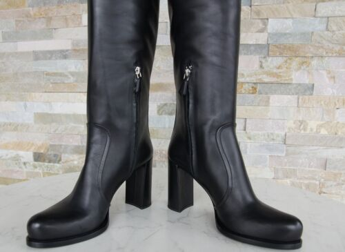 Calf Prada NuovoUvp 1w158g Boots Nero Gr Shoes 39 1250 Boots € Luxury deroQxWCB