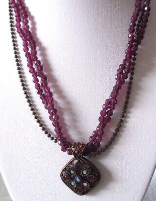 Fashion Style Bijou Vintage Collier Bronze Rétro 70 Perles Pendentif Mauve Cristaux 728