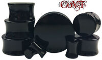 """Pair 8g-1"""" Solid Black Acrylic Plugs Saddle Double Flare Tunnels Ear Gauges"""