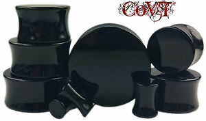 Pair-8g-1-034-Solid-Black-Acrylic-Plugs-Saddle-Double-Flare-Tunnels-Ear-Gauges