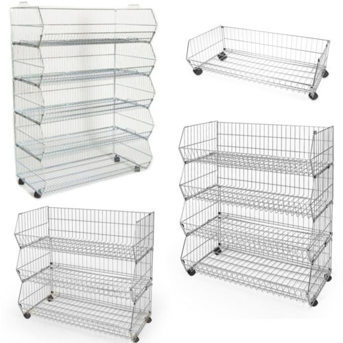 New Wheel Stackable Wire Storage Bin Rack Veg Fruit Basket for Retail Shop