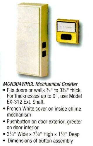 NUTONE Non Electric Mechanical FRENCH WHITE Door Chime Wireless MC-304N NEW