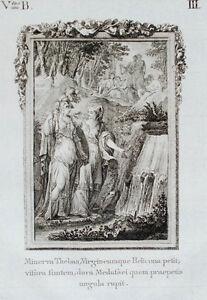 c1790-Ovid-Metamorphosen-Minerva-und-die-Musen-Original-Kupferstich