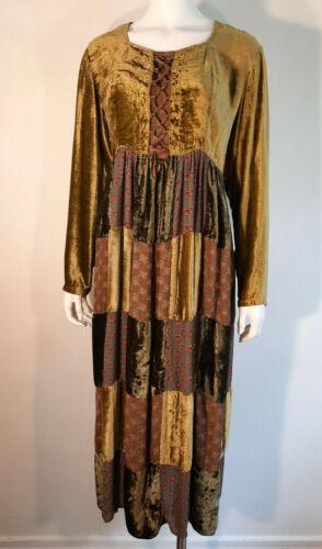 VTG 1990s Phool Velvet Patchwork Dress Green Hippi