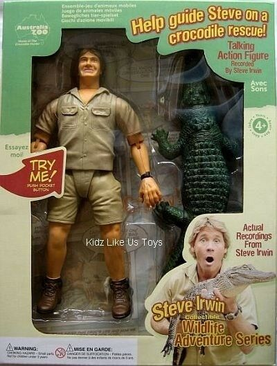 Steve Irwin - TALKING ACTION FIGURE DOLL & CROC 9  Rare Collectors