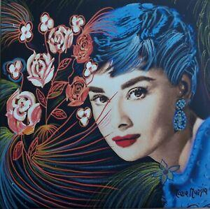 MARIA MURGIA  - Audrey Hepburn -   Pezzo unico dipinto  cm 30x30 + ARCHIVIO