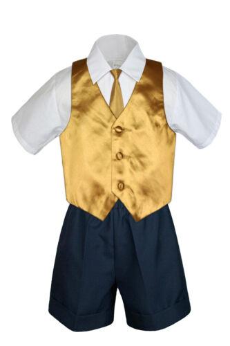 4pc Set Boy Toddler Formal Gold Vest and Necktie Black Khaki Shorts S-4T