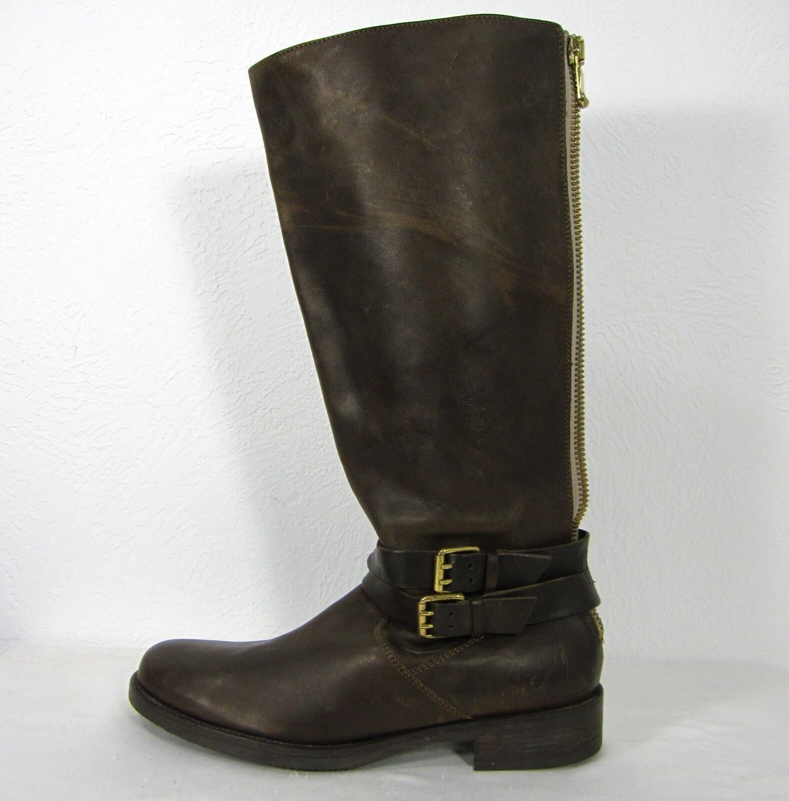 J. CREW KNEE LENGTH BACK ZIPPER RIDER BOOTS SIZE 9.5(US) BROWN