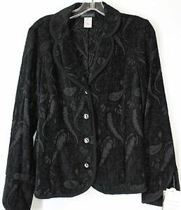 NWT-Alex-amp-Avery-Women-039-s-Small-Black-Paisley-4-Button-Front-Lightweight-Jacket