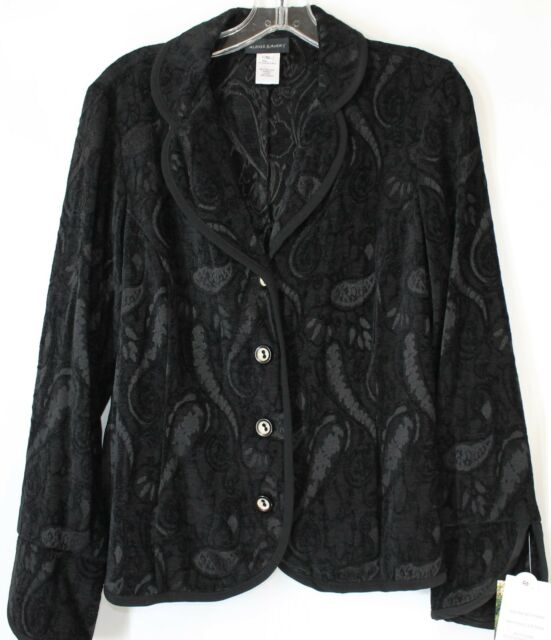 NWT Alex & Avery Women's Small Black Paisley 4 Button Front Lightweight Jacket