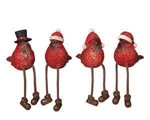 Holiday Winter Cardinal Birds Shelf Sitters Figurines Resin Christmas Decor Set