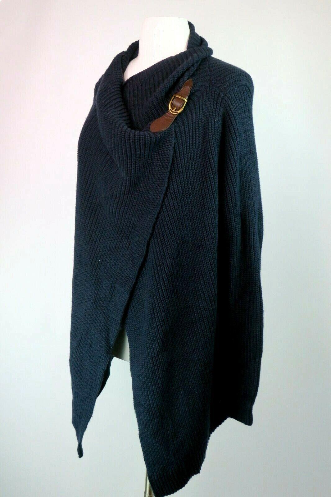 Polo Ralph Lauren Femme Sweater SZ L Blau Wrap Duster Coton Cuir Boucle
