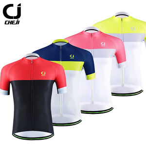 CHEJI-Men-039-s-Retro-Cycling-Jersey-Short-Sleeve-Bike-Bicycle-Shirt-Tops-Reflective