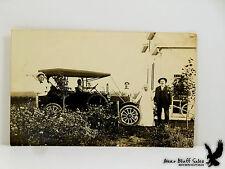 Antique RPPC Open Top Touring Car Kerosene Lights Bicycle Family Portrait