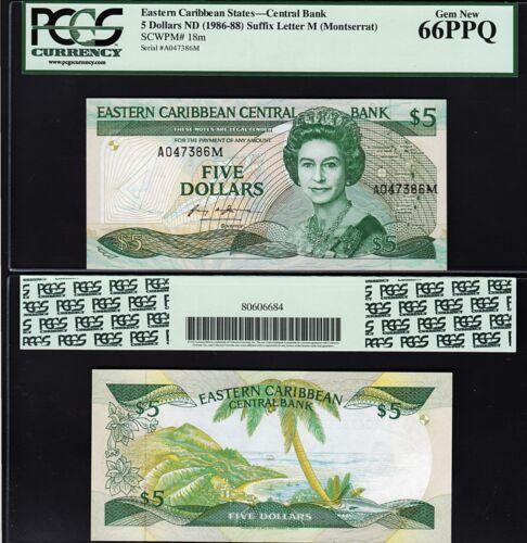 PCGS 66 GEM NEW P-18M MONTSERRAT PPQ EAST CARIBBEAN 5 DOLLARS 1986-1988 UNC