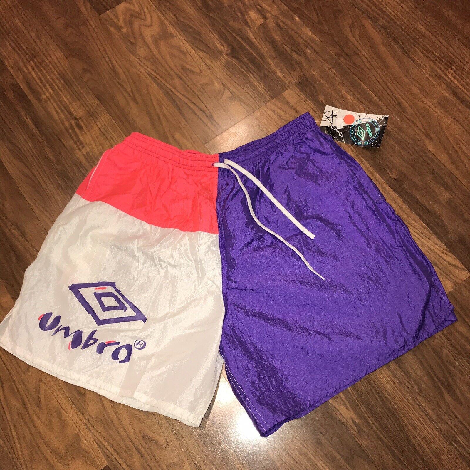NEW Vtg 80s 90s UMBRO Neon Pink Purple Mens XL Nylon Sand Soccer shorts NOS NWT