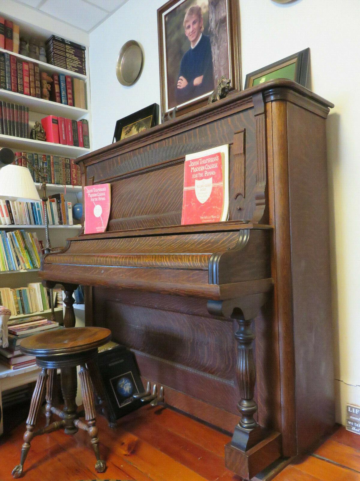 1874-1920 VINTAGE UPRIGHT OAK PIANO, DURCH CLOUGH & WARREN, STOOL HAS CLAW FEET