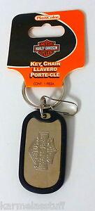 Harley-Davidson-Rubber-Tag-Bar-amp-Shield-Metal-Key-Chain-Dog-Tag-NEW