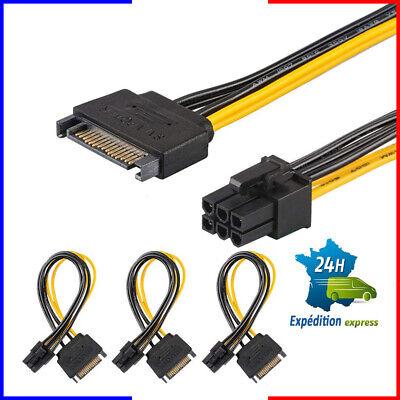 Câble X3 Alimentation Pci/e 6 Pin Vers Sata 15 Pin Carte Graphique QualitÉ Long Performance Life