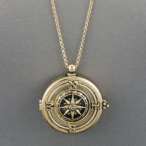 Long gold chain unique compass magnifying glass pendant necklace ebay image is loading long gold chain unique compass magnifying glass pendant mozeypictures Image collections