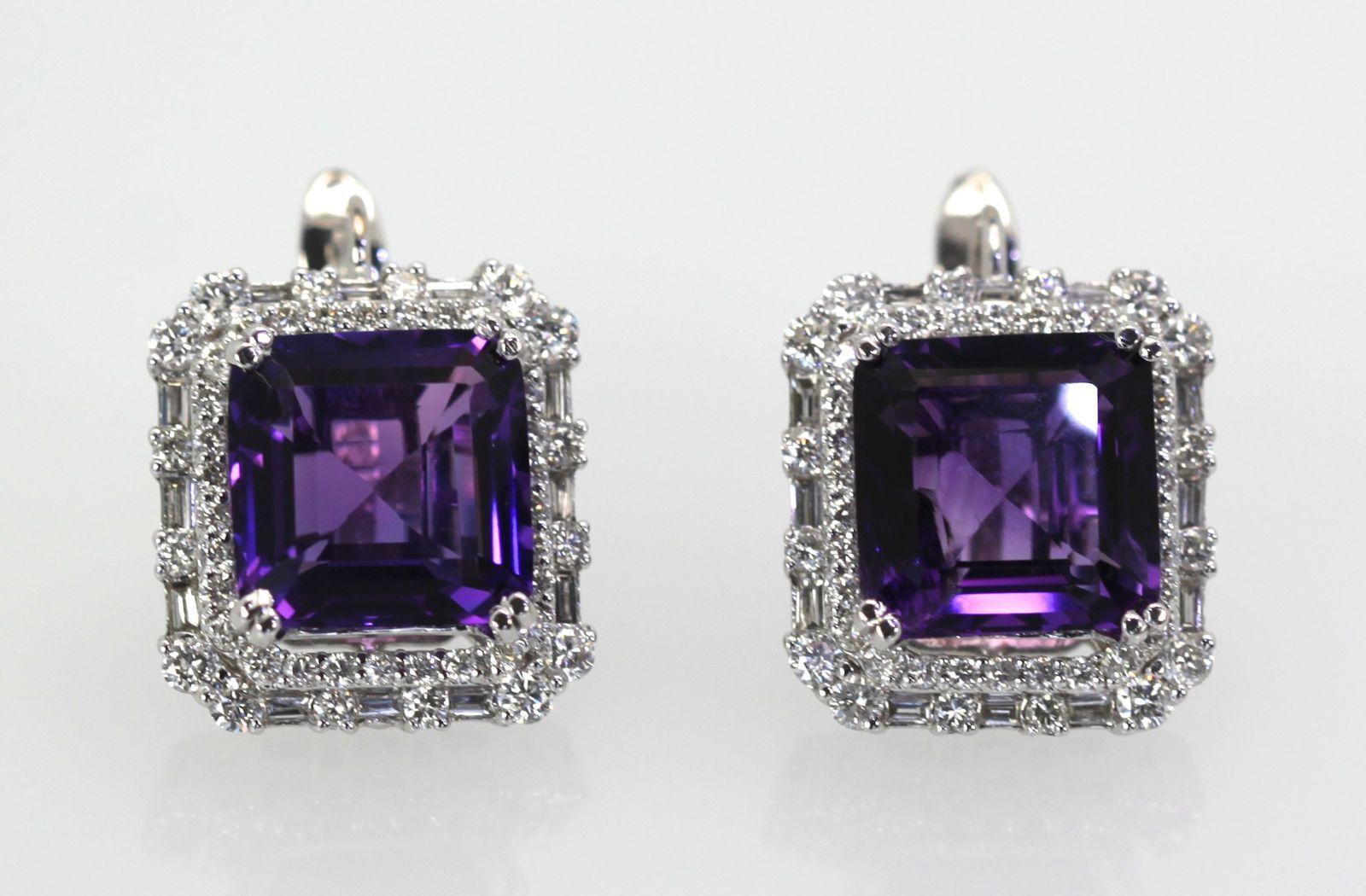 Deep Purple Amethyst & Diamond 18 Carats Earrings 18K White gold