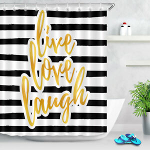 Image Is Loading Live Love Laugh Black And White Striped Shower
