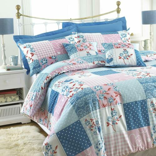 GREAT KNOT POLY COTTON MAY FAIR PINK PATCH WORK DUVET COVER SET SINGLE DOUBLE