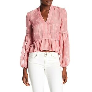 New-ROMEO-amp-JULIET-COUTURE-Womens-Small-Pink-Star-Print-Sheer-Blouse-Hi-Lo-nwt