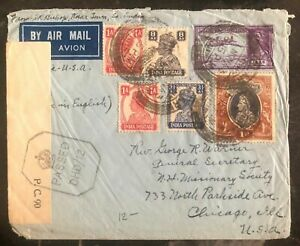 1943-Kolar-India-Airmail-Censored-Cover-To-Chicago-IL-USA
