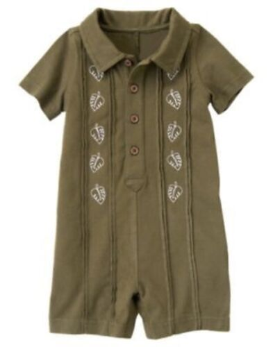 GYMBOREE CATERPILLAR FELLA OLIVE LEAF POLO ONE PIECE 0 3 6 12 18 24 NWT