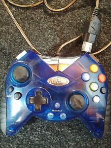 Intec-Blue-Transparent-Clear-Xbox-Controller-Original-Wired-Tested-Work-Rare