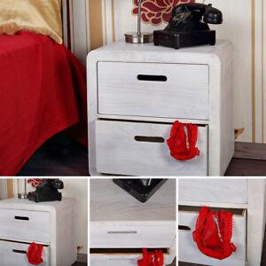 Design-3-tlg-Schubladen-Tisch-Couchtisch-Nachttisch-Holz-Shabby-Kommode-Weiss