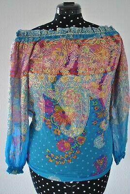 Vintage Damen Bluse, 70er Jahre, Paisley Muster, S, Blau Gold, Hippie, Folklore