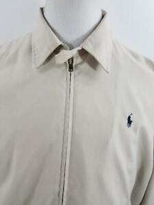Polo-Golf-Ralph-Lauren-Mens-L-Khaki-Ivory-Windbreaker-Jacket-Zip-Up-XL-Pony