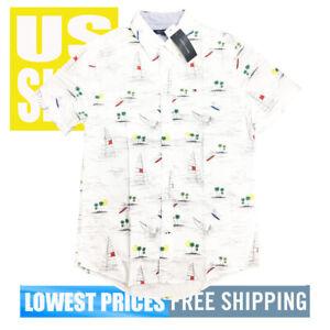 Tommy-Hilfiger-Men-039-s-NWT-Sailboats-Islands-White-Button-Up-SH-SLV-Shirt-MEDIUM