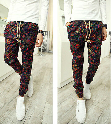 Men's Retro Floral Patterned Pop Drawstring Slim Linen Harem Pants Slacks M-3XL