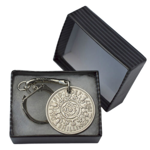 FLORIN TWO SHILLINGS COIN KEYRING CHOICE OF YEAR 1947 TO 1967 PERFECT BIRTHDAY