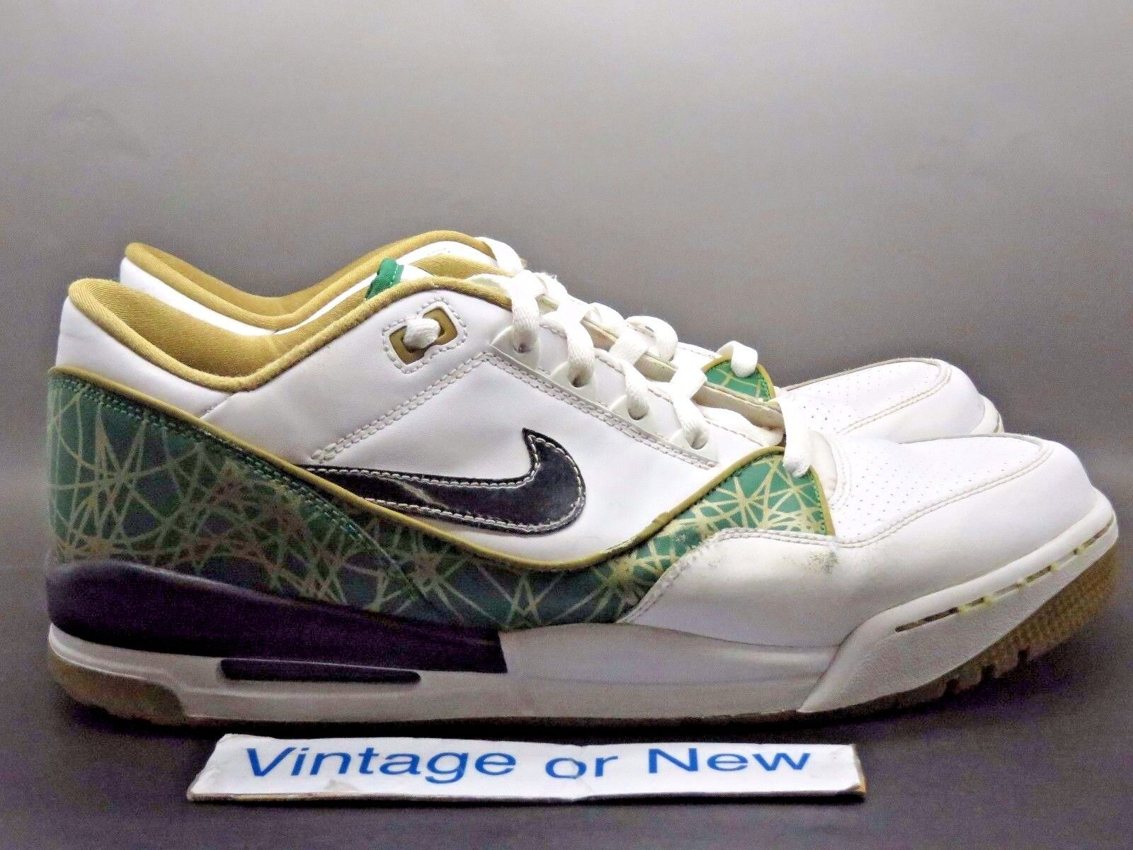 Nike Air Assault Low White Pine Green gold Black 2008 sz 13