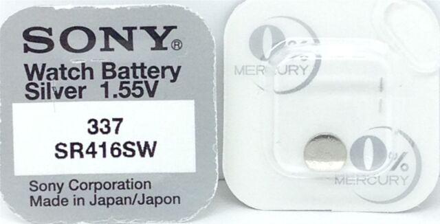 2 x Sony 337 Knopfzellen V337 UhrenBatterien SR416SW  Silber-Oxid