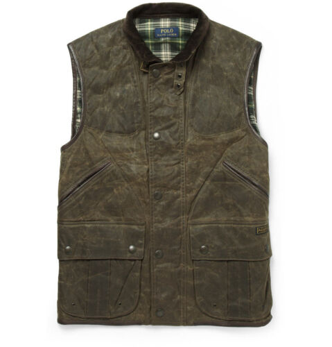 SZ-S Small New//Tags-POLO RALPH LAUREN Monroe LEATHER-TRIM OILCLOTH Waxed VEST
