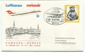 Diplomatique Ffc 1988 Swissair Special Flight Hamburg Geneve Aeroport Ulrich Von Huiten