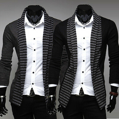 Men Casual Fashion Slim Striped Long Sleeve Coat Cardigan knitted Sweater