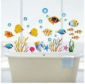 Image Is Loading Tropical Fish Corals Wall Stickers Sea Bathroom Tile
