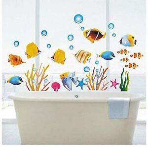 Tropical Fish Corals Wall Stickers Sea Bathroom Tile Decor