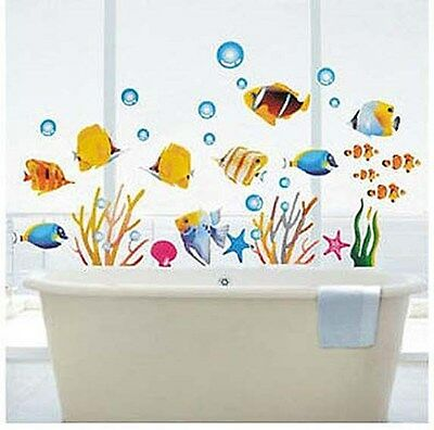 Tropical Fish Corals Wall Stickers Sea Bathroom Tile Decor PVC UK Stock