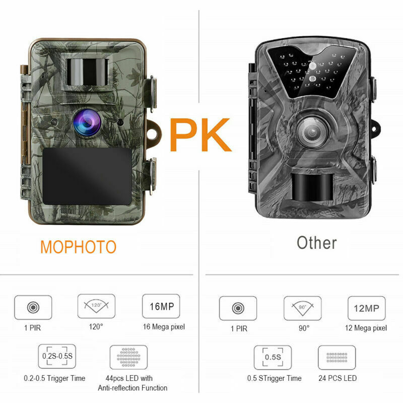 Trail Camera 16MP 1080P Infrared Night Vision Game Wildlife Hunting Cam 20m