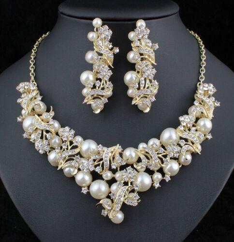 Bouquet Faux Pearl Off White Austrian Rhinestone Bib Necklace Earrings Set N921g
