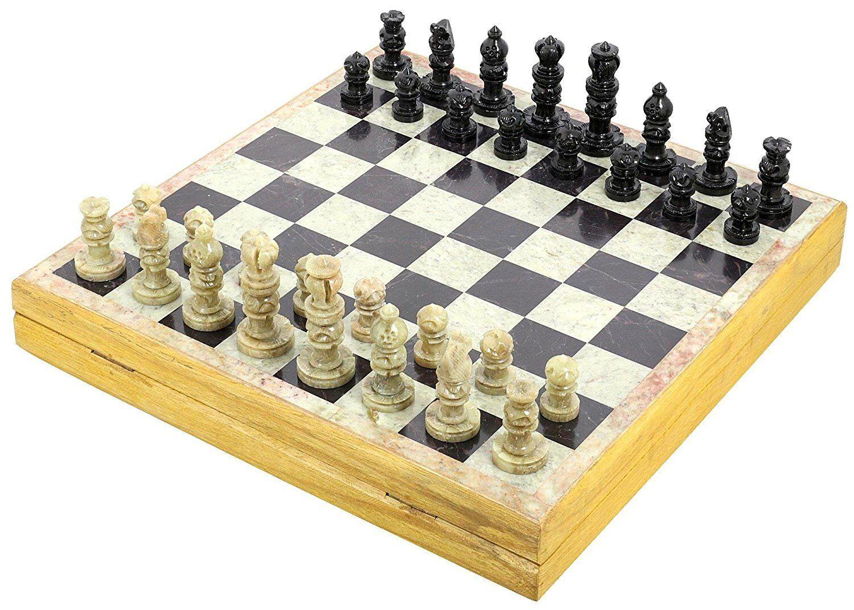 12 Inch Stone Chess Set Board & Wooden Box Handmade Outdoor Brain Mind Game Art