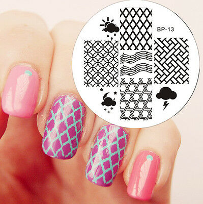 BORN PRETTY BP13 Grid Patterns Nail Art Stamp Stamp Template Image Plate