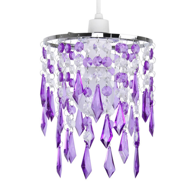 Silver Purple  Clear Acrylic Crystal Ceiling Light Lamp Shade Chandelier Lights